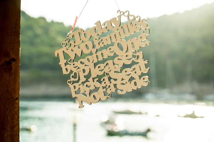Today two families become one - beautiful sign - Decoration #weddingideas #weddinginkefalonia #mythosweddings