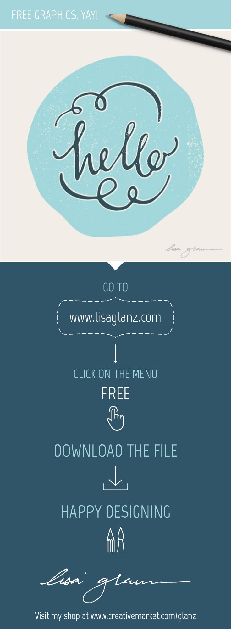 Visit http://www.lisaglanz.com to grab this hand lettered graphic free!  #free #graphics #illustration #vector #design