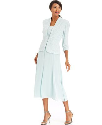 Mother of the Bride....Alex Evenings Sleeveless Jacquard Sparkle Dress and Jacket