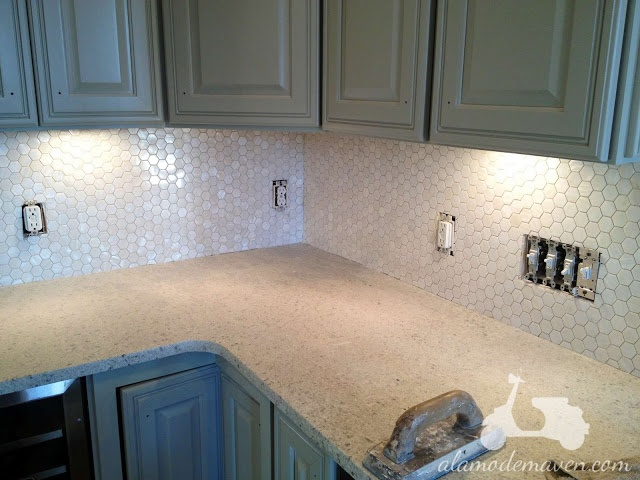Hexagon mother of pearl tile backsplash great kitchen for Great kitchen tile ideas