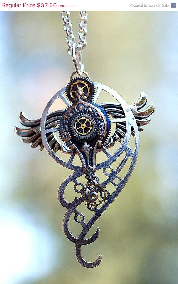 Sale and Free Shipping Steampunk Pendant Necklace by KeypersCove