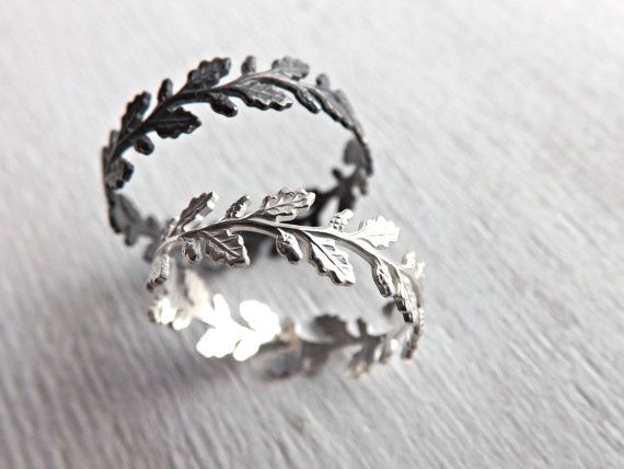 Silver leaf eternity ring, Oak leaf ring, Delicate silver ring nature inspired, Lace silver ring, Filigree ring silver, Wreath ring silver