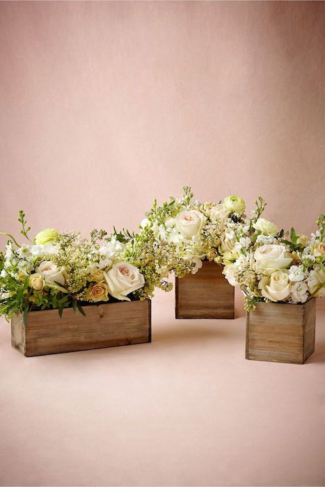 Wooden Box Planters. 10 Flower Box Centerpieces on @intimatewedding Photo by @BHLDN #BHLDN #weddingflowers #flowerbox
