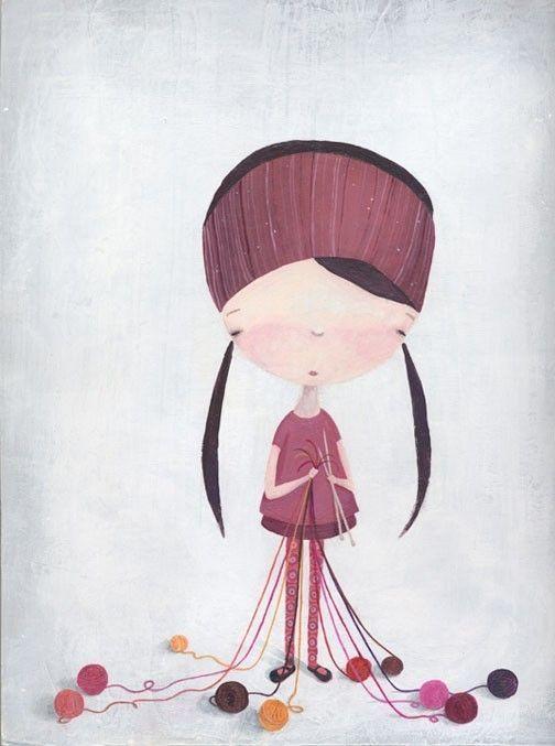 The Knitting Girl = so adorable!