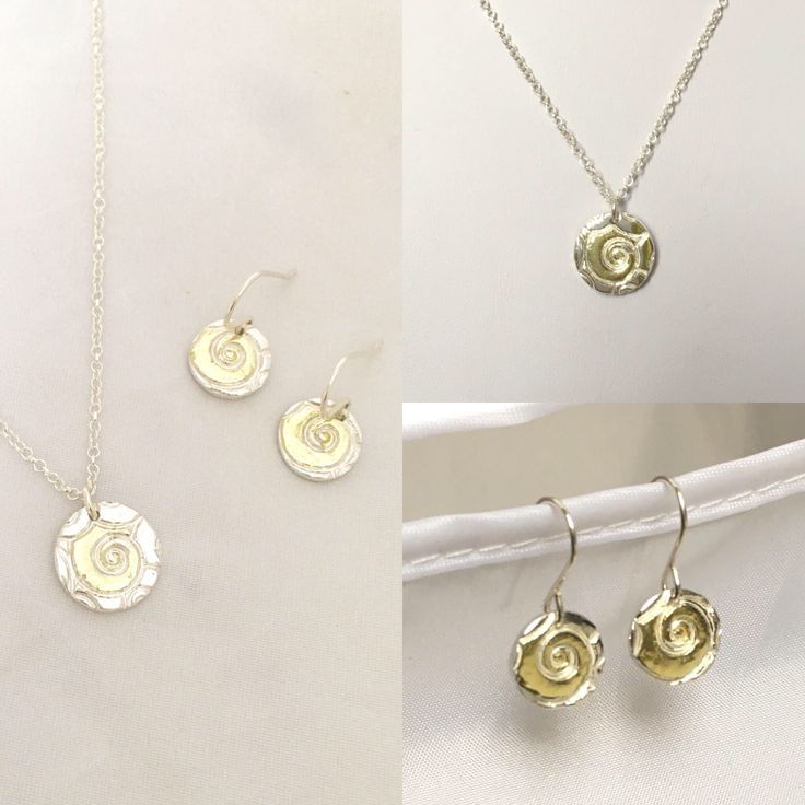 Fine Silver and 22k gold layered Ammonite swirl motif Pendant Necklace with matched Earrings by NuitNuitDesigns on Etsy https://www.etsy.com/uk/listing/570320843/fine-silver-and-22k-gold-layered
