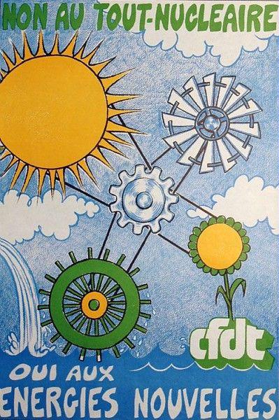 Non au tout-nucléaire, Oui aux énergies nouvelles, affiche CFDT /  Collections du Musée du Vivant - AgroParisTech