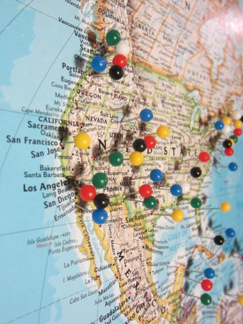 How to Build a Pin Map.  This one is for travel, but I think it's a cute idea to put one in the guest room and have your guests pin where they're from.