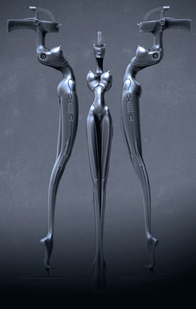 KoRn microphone stand HR Giger - final render by Emiliano Calisti parasite