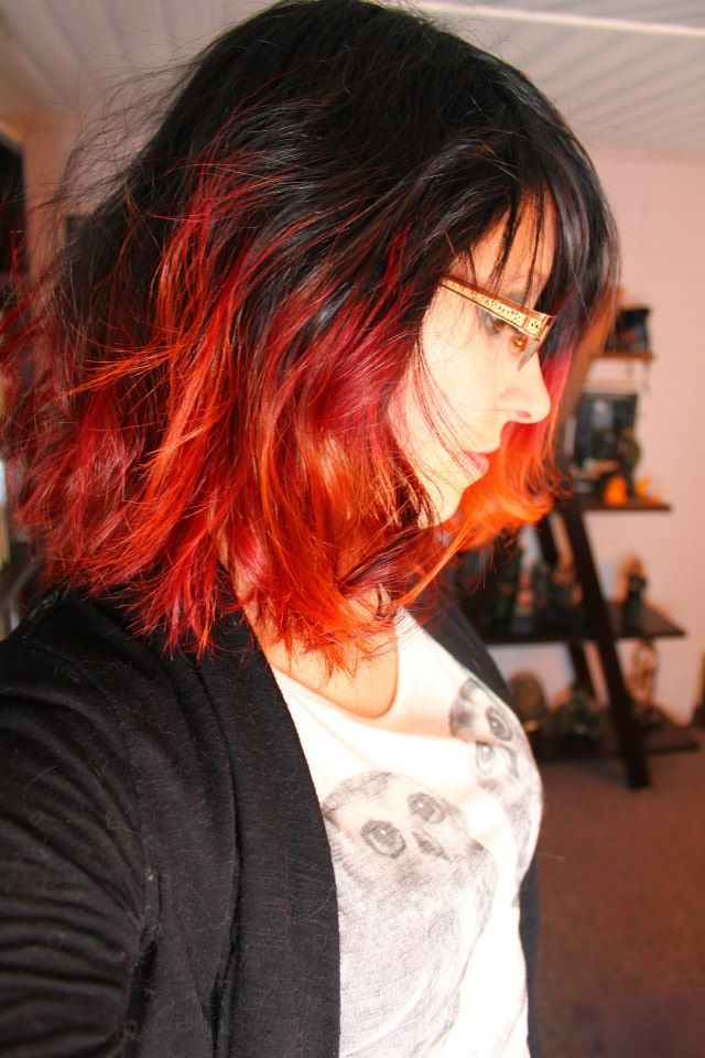 short red and orange dip-dye