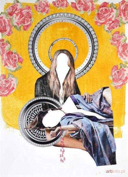 CHUDZIK-PAWLIK Anna Wszystkie jesteśmy boskie II, 2016 kolaż: papier, akryl, fotografie, nici, 41 x 29,6 cm, sygn. na odwrocie