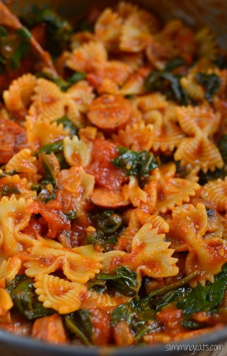 Slimming Eats Sausage and Tomato Pasta