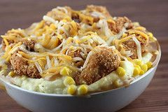 KFC Bowl! - I just buy frozen popcorn chicken, and then start with making the mashed potatoes in step 2 of this recipe.