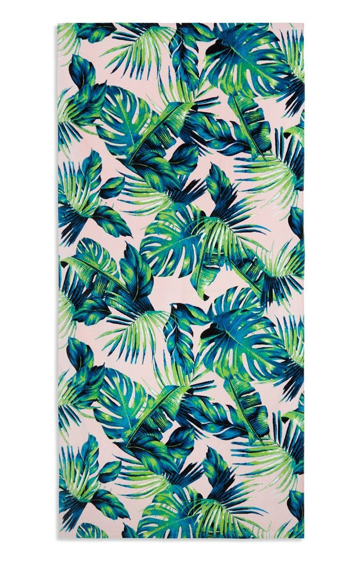 Primark Pink Blue Green Palm Print Beach Towel Tree Leaf