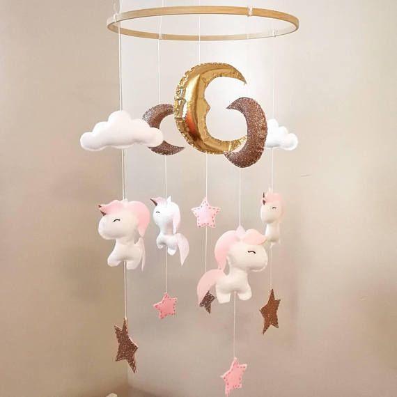 Fait A La Main Beau Bebe Berceau Mobile Theme Des Licornes Pour