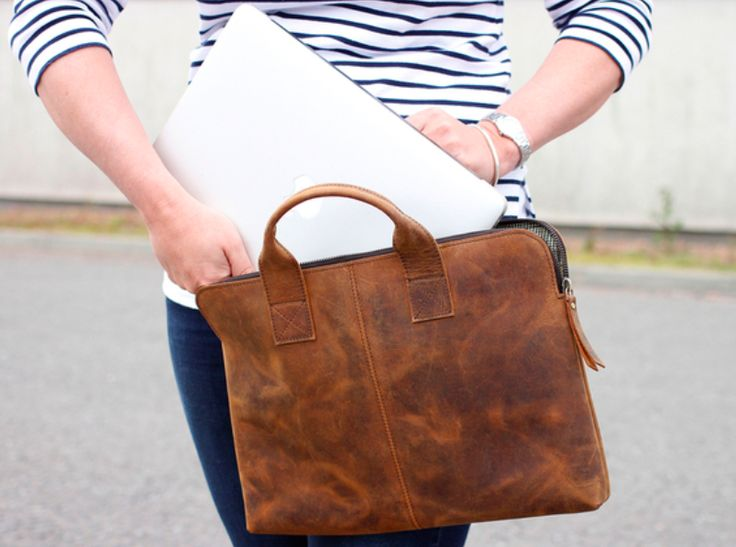 """This Leather Laptop Bag 13"""" is a great way to travel in style. If you are looking for a combination of vintage styling, and compact features, this bag is perfect for you.  #gift #giftsforwomen #leatherbag"""