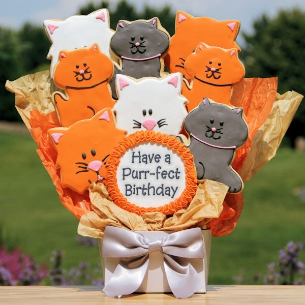 Have a Purrfect Birthday Cat Cookie Bouquet | Purchase from Gourmet Cookie Bouquets  ( http://www.gourmet-cookie-bouquets.com/have_a_purrfect_birthday_cat_cookie_bouquet.html)