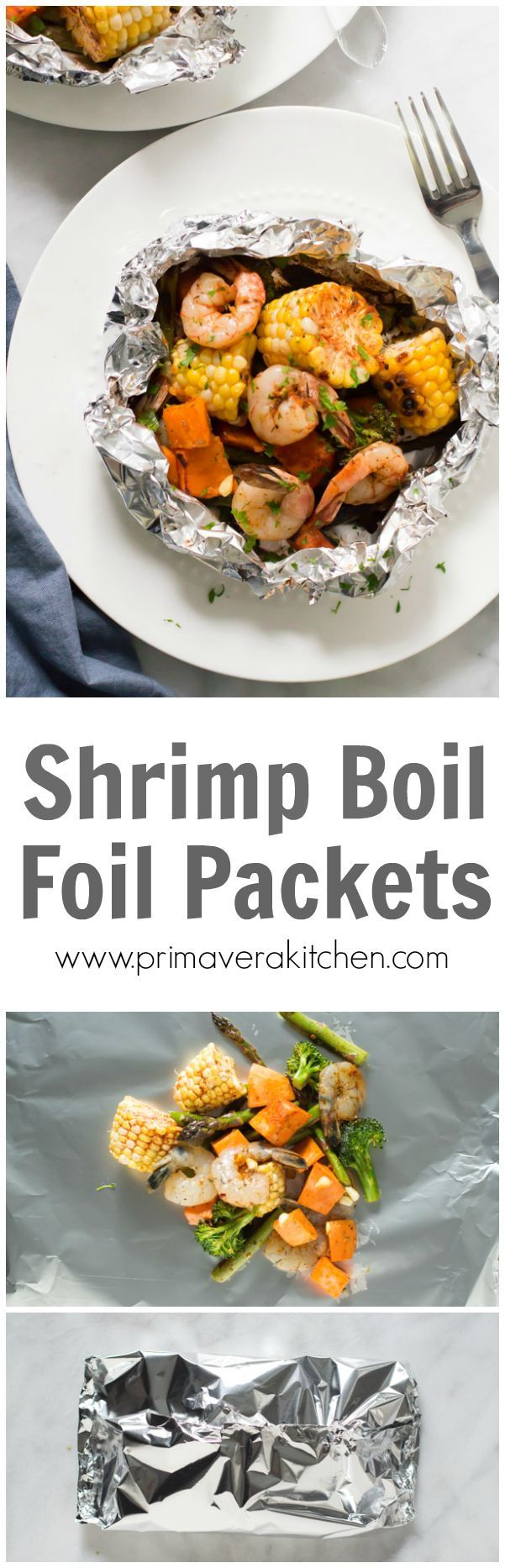Shrimp Boil Foil Packets - Just make clean up a total breeze with this Shrimp Veggies Foil Packets and have dinner on the table in 15mins!