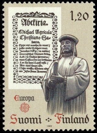 Postage stamp depicting Finnish bishop Mikael Agricola.   * 9 April, Day of Mikael Agricola and Finnish language. http://en.wikipedia.org/wiki/Mikael_Agricola