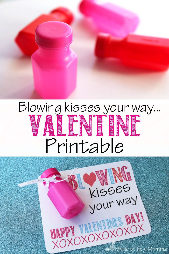 """Blowing Kisses Your Way"" Bubbles Valentine: Free printable found at madetobeamomma.com"