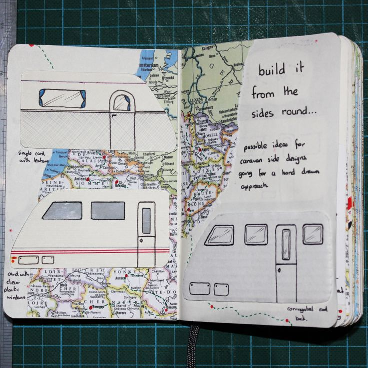 Some of my experiments for my original hand drawn concept for the miniature caravan.