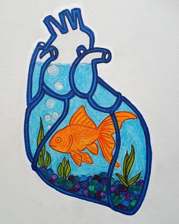 Goldfish with Glass Heart (Study) by Lone Quixote #art #arte #artwork #artist #goldfish #heart #aquarium #love #life #LoneQuixote