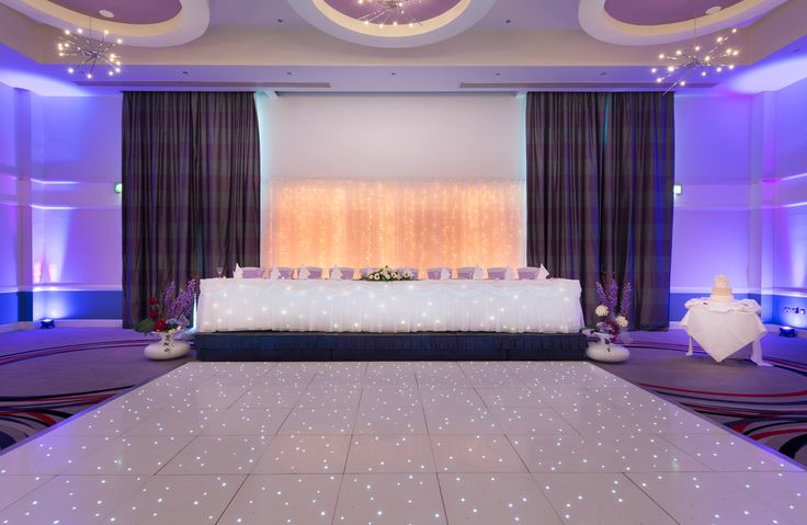 Our Greenwich suite dressed for a real wedding . Including fairylight backdrop & LED dancefloor