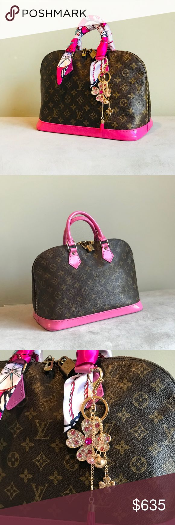 Authentic Louis Vuitton Alma Hot Pink Spring is here! 💐 Gorgeous Louis Vuitton . Free certificate of authentication from Poshmark! Authentication Date Code BA0935.This is preloved vintage bag. Professionally Hand-Painted in hot pink acrylic paint and sealed for protection. Slightly tarnished hardware but slides well.Zipper works great.Clean monogram!.Clean interior.  Lock is missing a key. Overall, in good condition FREE Twills and unbranded charm. Louis Vuitton Bags Satchels