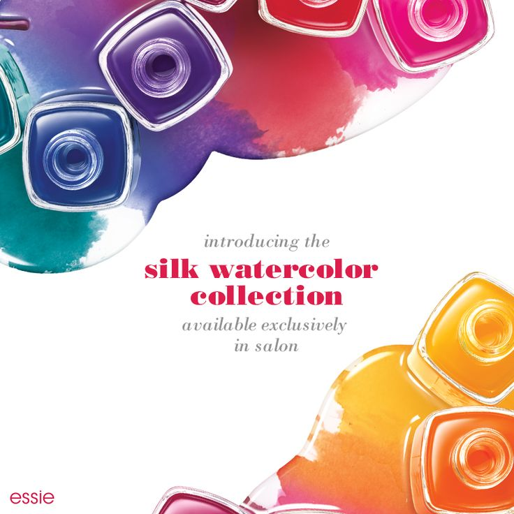 Let your passion for artistry out with the new essie silk watercolor collection. Wow the world with these exquisite sheers for a mani that will make a color statement. Available exclusively in salons.