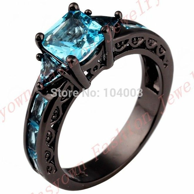 Best Cheap ring Buy Quality ring plier directly from China ring cube Suppliers Black Gold Filled Jewelry New Fashion Geometric Design Light Blue CZ Ring