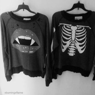 sweater rock grunge ribcage bones pullover black and white shirt bones sweater black white jacket halloween skeleton blouse alternative mouth pastel goth goth costole vampire cool tumblr outfit punk lips skeletton top red lipstick bite skelet grey sweater dark pull