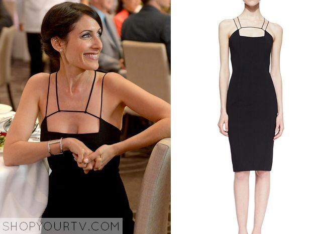 Abby McCarthy (Lisa Edelstein) wears this black strappy corset neck dress in this week's episode of Girlfriends' Guide to Divorce. It is the Cushnie Et Ochs Power Viscose Cutoutneck Sheath Dress Black in Black. Buy it HERE