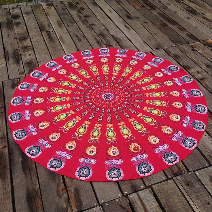 Bohemian Hippie Mandala Rodada Praia Tapeçaria Lance Toalha Tapete de Yoga Indiano Roundie Material de Poliéster(China (Mainland))