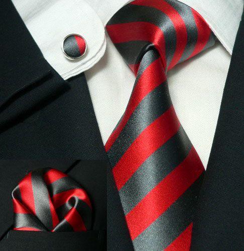 529 Bacrelli Bold Grey and Red Stripe 100% Silk Tie Set « Silk Ties | Wedding Ties | Wedding Sets