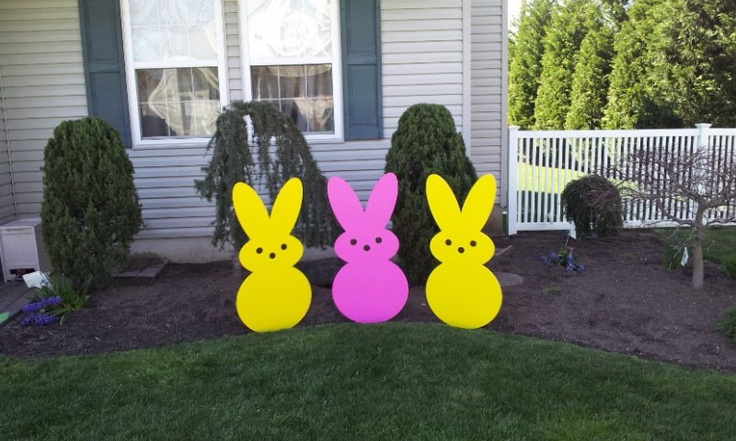 Large Wooden Easter Yard Art Peeps. $55.00, via Etsy.