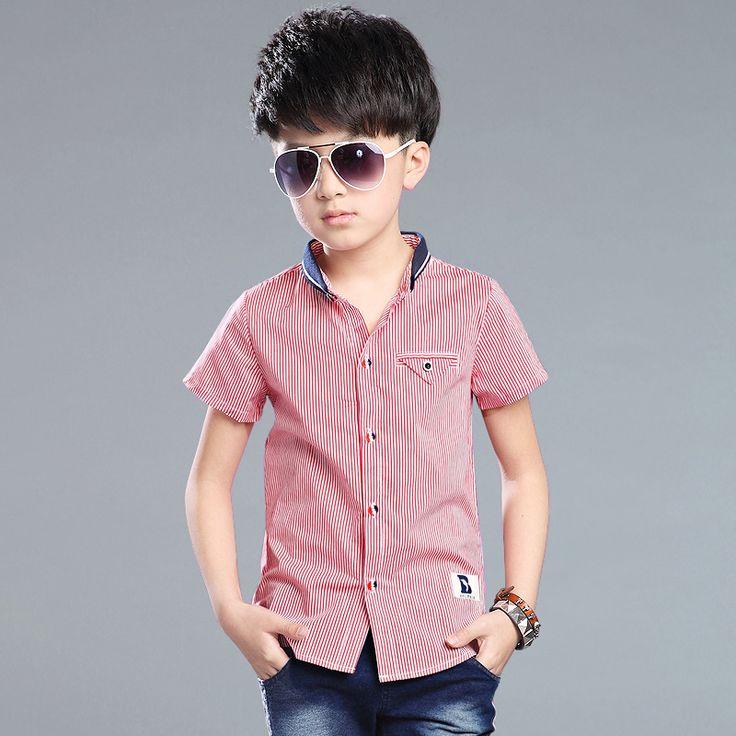 2016 новый ребенок мальчика рубашки хлопок полосой короткий рукав рубашки дети рубашки мальчик одежда летние рубашки платье 3-10 год 16797