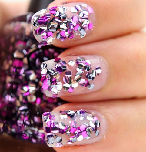 Purple, pink and silver glitter