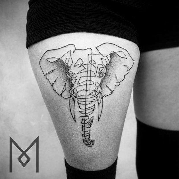 tattoo friday mo ganji linhas tatuagens estilizadas elefante