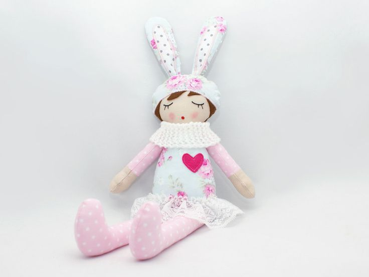 "Lola - Rag doll, Soft doll, Sleepy doll, Handmade doll 18"" by PatchworkModa on Etsy"