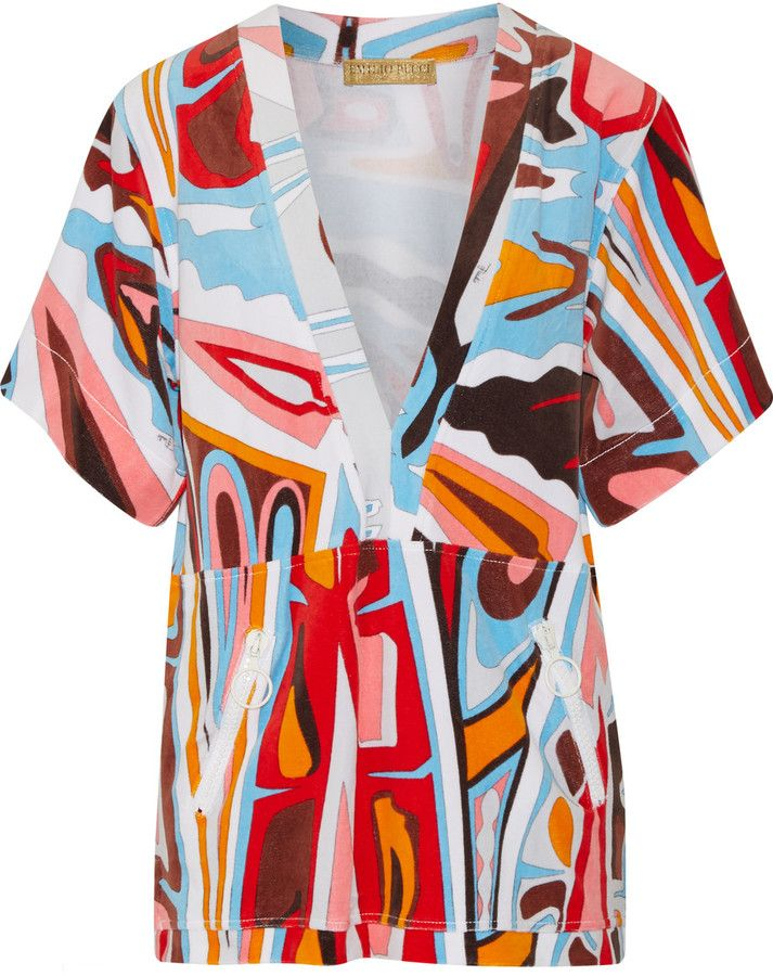 Emilio Pucci Printed cotton-blend terry coverup