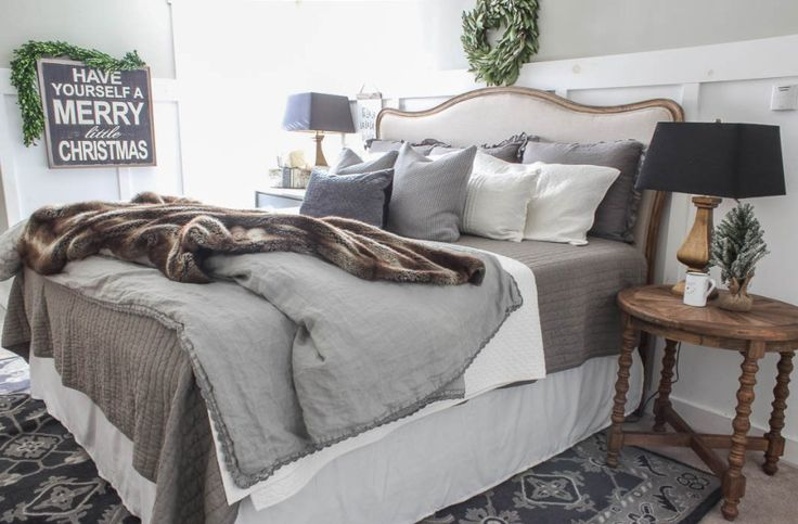 Christmas Farmhouse Bedroom - Rooms For Rent blog. The walls are Hazy Skies by: Benjamin Moore, and are a perfect shade of beige – gray, without feeling too tan.