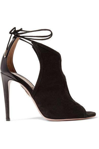 Aquazzura - Nomad Cutout Suede And Leather Sandals - Black - IT