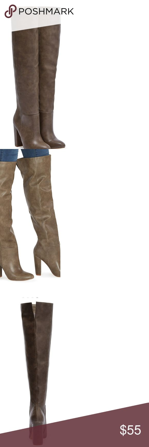 """GERALDINE Taupe rider boots GERALDINE Taupe rider boots Amazing condition 9 out of 10 Size 9 MATERIAL:Faux-leather COLOR:TAUPE OUTSIDE HEEL HEIGHT:4""""CALF  CIRCUMFERENCE:15.5"""" Wide Calf: 16.5"""" Shoes Heeled Boots"""