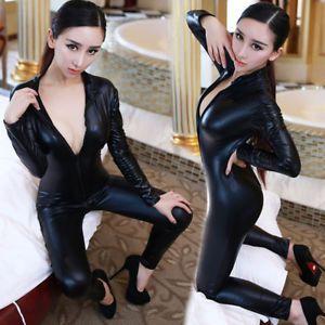 Women Bodysuit Jumpsuit Wetlook Vinyl PVC Catsuit Clubwear Zipper Front Costume