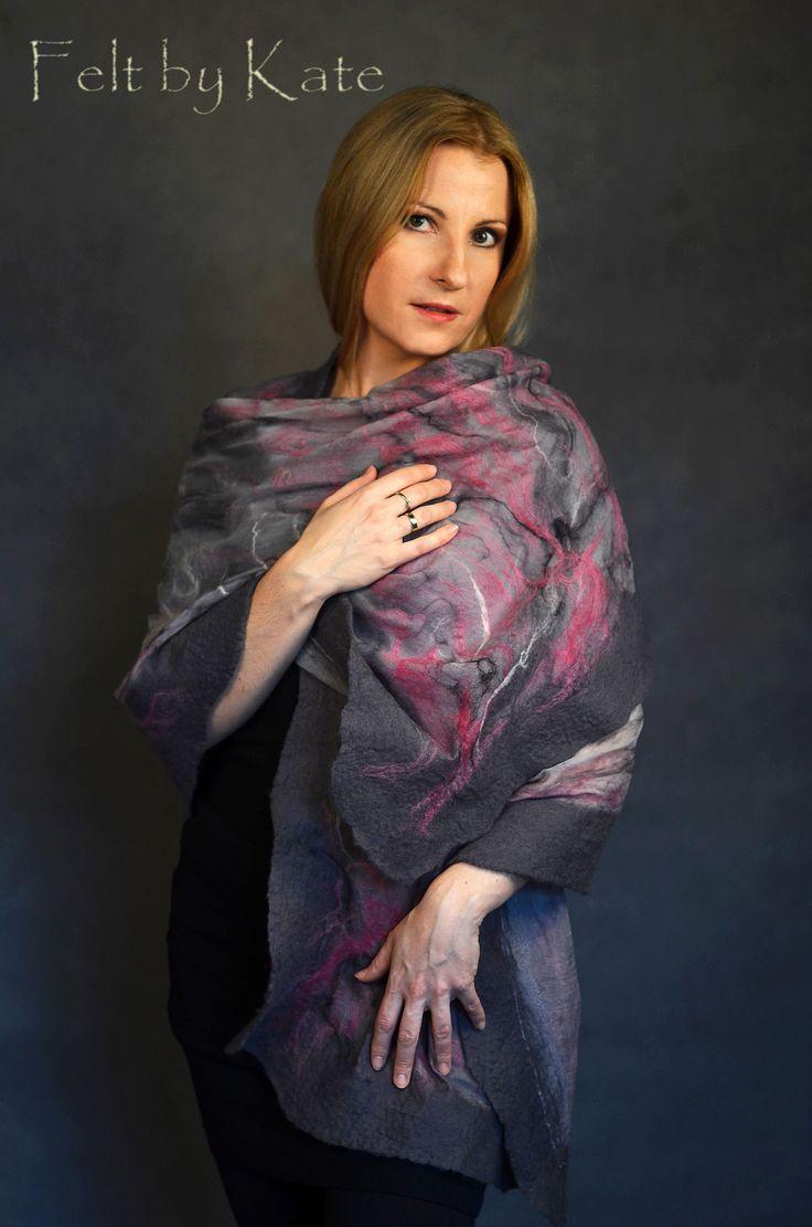"Felted shawl  - chiffon, merino wool and silk fibres by Katarzyna Milczarek ""Felt by Kate"" https://www.facebook.com/FeltbyKate/"