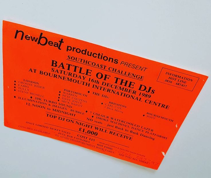 NEW BEAT Battle Of The DJs Southcoast Challenge Dec 1989 #BournemouthInternationalCentre . . #raveflyer #bic #bournemouth #southcoast #carlcox #fabioandgrooverider #housemusic #techno #newbeat #vinyldj #battleofthedjs