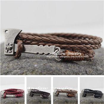 Low0225lb дизайн винтажный персонализированные AX плотничий топор кожа браслет для женщины мужчины аксессуары день рождения подарок