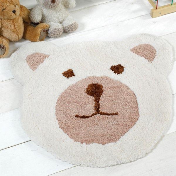 Flair Nursery Teddy Bear Natural Childrens Rug 75x80cm