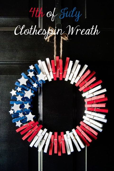 DIY your front door with stars and stripes this 4th of July using a wreath frame, acrylic or spray paint, foam star stickers, and clothespins.