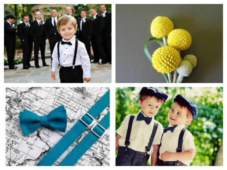 ring bearer! teal bow tie, suspenders and cap with yellow boutonniere