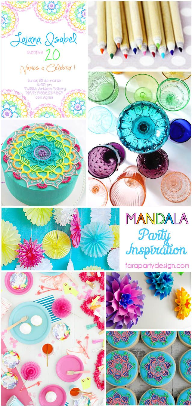 Inspiration Board by Fara Party Design- Rainbow Mandalas Party